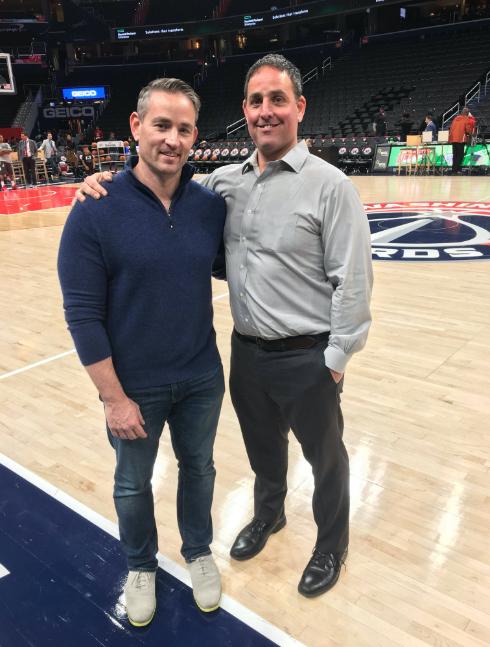 Zvi and Manu Goffer on a basketball court