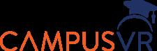 CampusVR Logo in orabge and fark blue with a mortar board hat